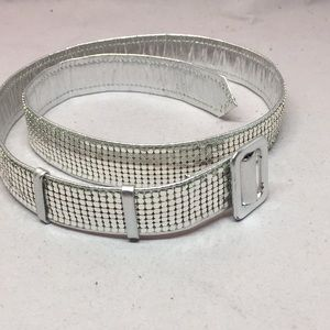 Silver tone leather and mesh belt.